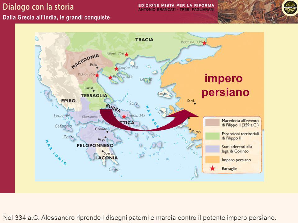 Nel 334 a.C. Alessandro riprende i disegni paterni e marcia contro il potente impero persiano. impero persiano