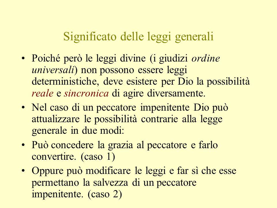 Significato delle leggi generali Poiché però le leggi divine (i giudizi ordine universali) non possono essere leggi deterministiche, deve esistere per Dio la possibilità reale e sincronica di agire diversamente.