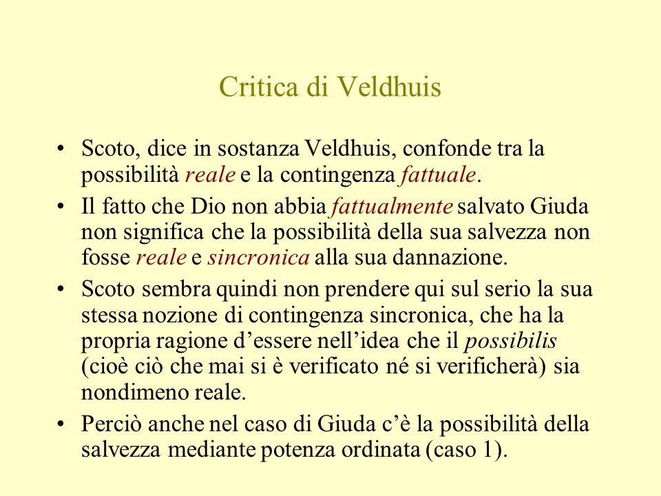 Critica di Veldhuis Scoto, dice in sostanza Veldhuis, confonde tra la possibilità reale e la contingenza fattuale. Il fatto che Dio non abbia fattualm