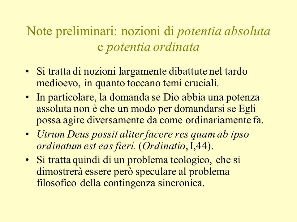 Note preliminari: nozioni di potentia absoluta e potentia ordinata Si tratta di nozioni largamente dibattute nel tardo medioevo, in quanto toccano tem