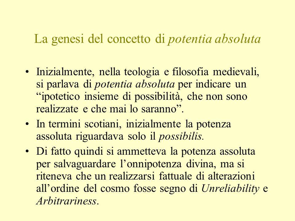 La genesi del concetto di potentia absoluta Inizialmente, nella teologia e filosofia medievali, si parlava di potentia absoluta per indicare un ipotetico insieme di possibilità, che non sono realizzate e che mai lo saranno .