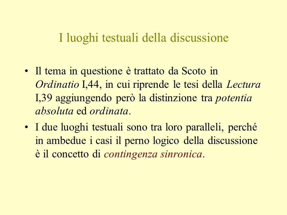 I luoghi testuali della discussione Il tema in questione è trattato da Scoto in Ordinatio I,44, in cui riprende le tesi della Lectura I,39 aggiungendo però la distinzione tra potentia absoluta ed ordinata.