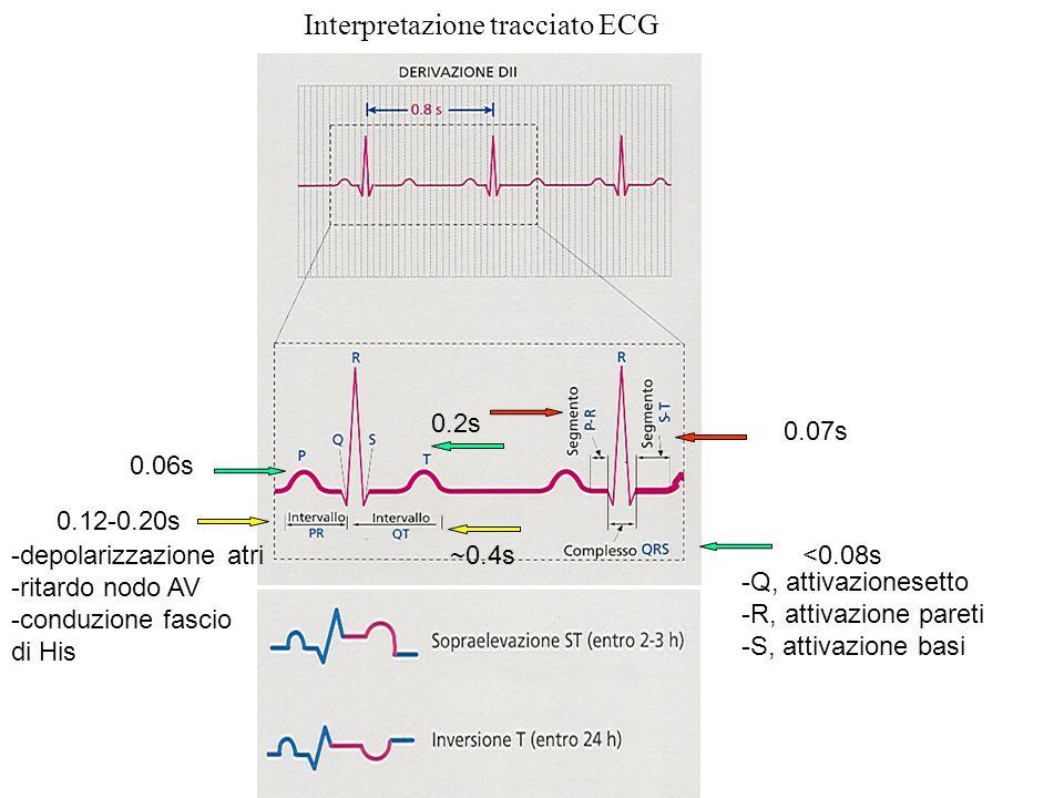 Interpretazione tracciato ECG 0.06s 0.12-0.20s ~0.4s 0.2s 0.07s <0.08s-depolarizzazione atri -ritardo nodo AV -conduzione fascio di His -Q, attivazion