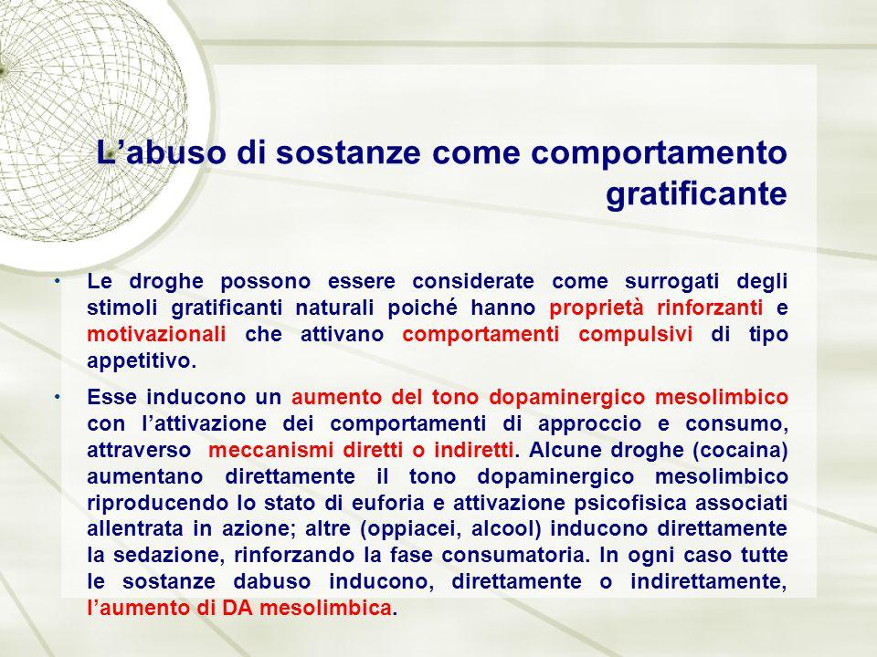 L'abuso di sostanze come comportamento gratificante Le droghe possono essere considerate come surrogati degli stimoli gratificanti naturali poiché han