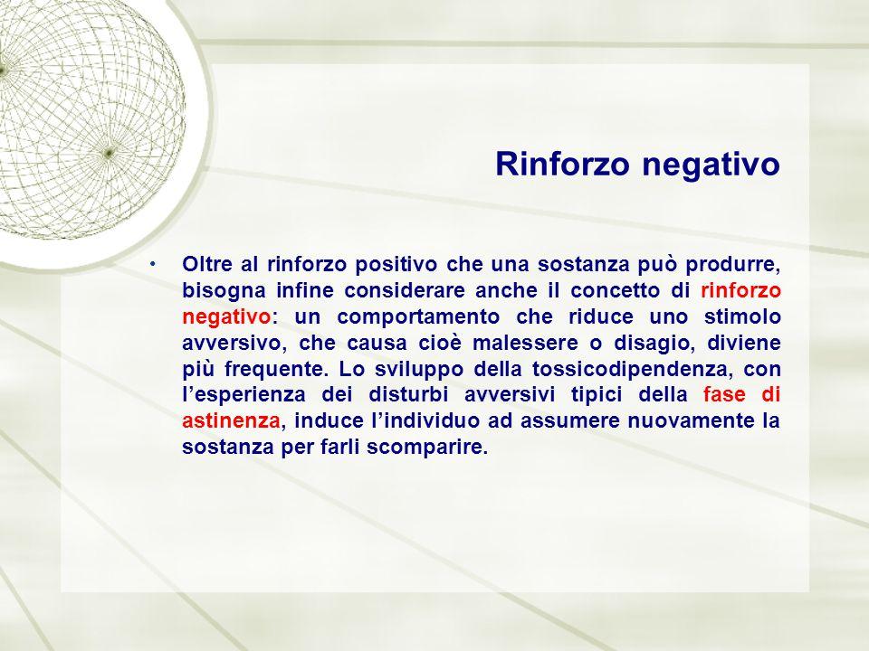 Rinforzo negativo Oltre al rinforzo positivo che una sostanza può produrre, bisogna infine considerare anche il concetto di rinforzo negativo: un comp