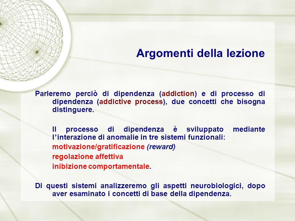 Argomenti della lezione Parleremo perciò di dipendenza (addiction) e di processo di dipendenza (addictive process), due concetti che bisogna distingue