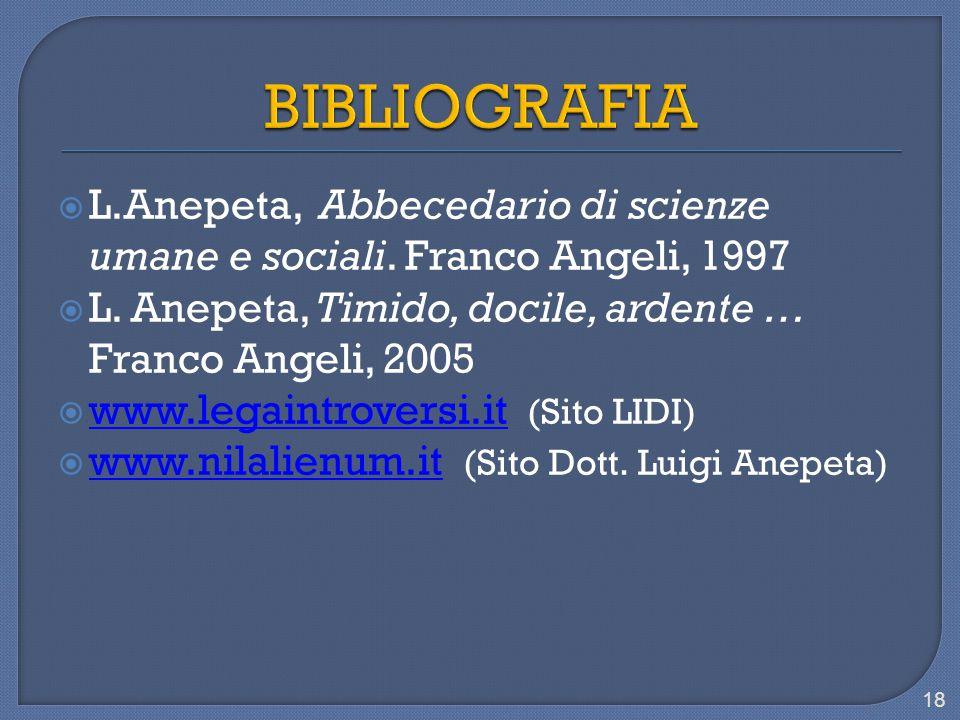  L.Anepeta, Abbecedario di scienze umane e sociali. Franco Angeli, 1997  L. Anepeta, Timido, docile, ardente … Franco Angeli, 2005  www.legaintrove