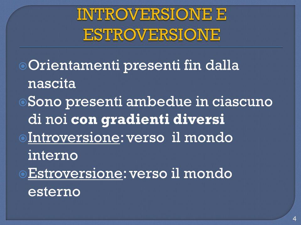  Orientamenti presenti fin dalla nascita  Sono presenti ambedue in ciascuno di noi con gradienti diversi  Introversione: verso il mondo interno  Estroversione: verso il mondo esterno 4