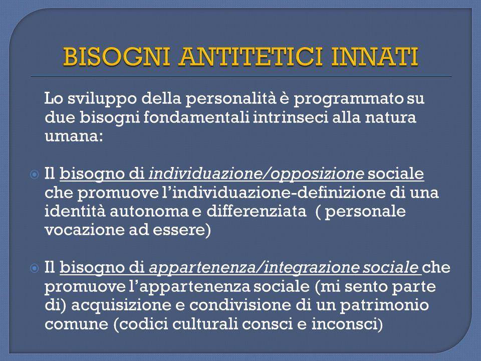 Bisogno di appartenenza/ integrazione sociale  Orient.