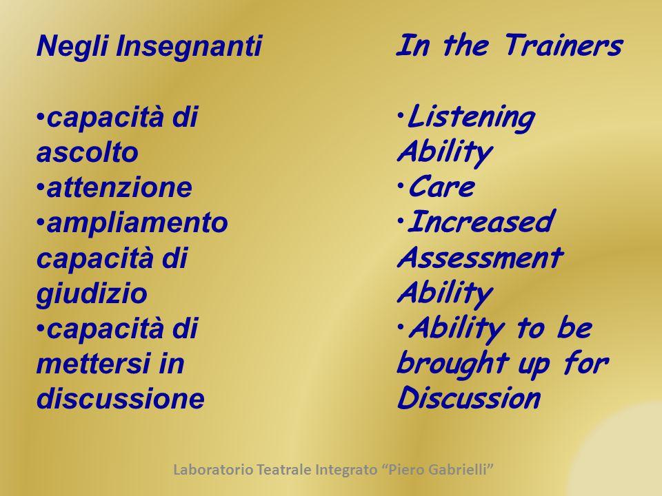 Negli Insegnanti capacità di ascolto attenzione ampliamento capacità di giudizio capacità di mettersi in discussione In the Trainers Listening Ability