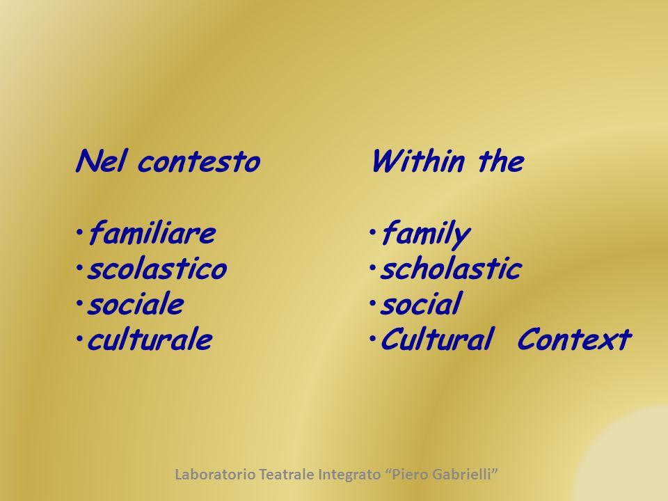 """Nel contesto familiare scolastico sociale culturale Within the family scholastic social Cultural Context Laboratorio Teatrale Integrato """"Piero Gabriel"""