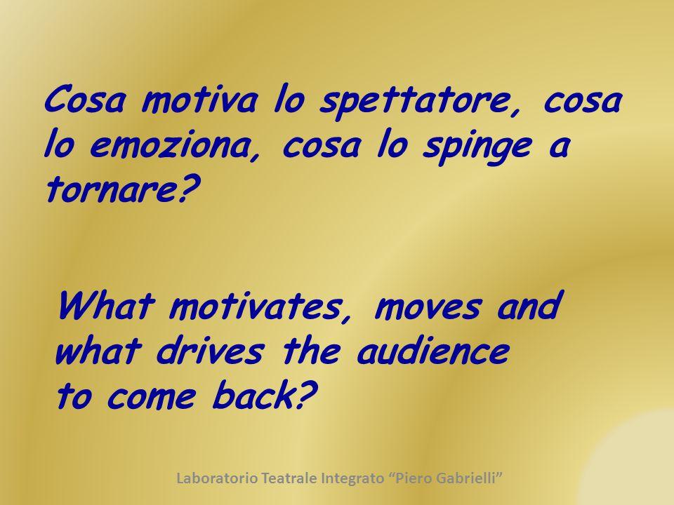 Cosa motiva lo spettatore, cosa lo emoziona, cosa lo spinge a tornare? What motivates, moves and what drives the audience to come back? Laboratorio Te