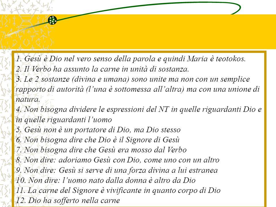 1. Gesù è Dio nel vero senso della parola e quindi Maria è teotokos. 2. Il Verbo ha assunto la carne in unità di sostanza. 3. Le 2 sostanze (divina e