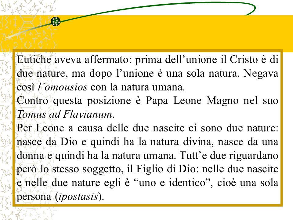 Eutiche aveva affermato: prima dell'unione il Cristo è di due nature, ma dopo l'unione è una sola natura. Negava così l'omousios con la natura umana.