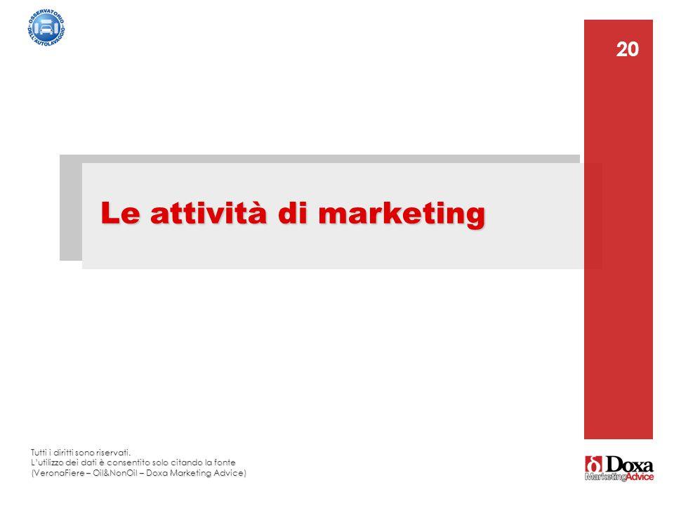 20 Le attività di marketing 20 Tutti i diritti sono riservati. L'utilizzo dei dati è consentito solo citando la fonte (VeronaFiere – Oil&NonOil – Doxa
