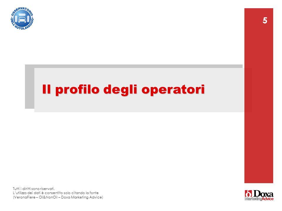 5 Il profilo degli operatori 5 Tutti i diritti sono riservati. L'utilizzo dei dati è consentito solo citando la fonte (VeronaFiere – Oil&NonOil – Doxa
