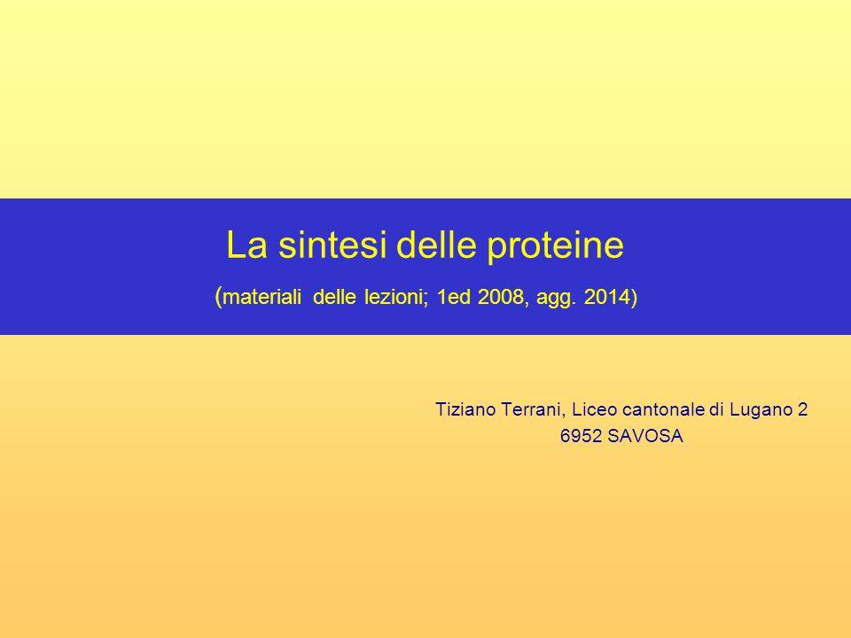 Li Lu2, T.Terrani (2008-2014) Genetica molecolare 2 sommario (scegliere con il cursore l'argomento desiderato!) dia 3-5Proteine: molecole della vita dia 6-7Come sono fatte le proteine dia 30-52Struttura generale aminoacidi/formula di struttura di tutti gli aminoacidi dia 8-9Le cellule sono fabbriche di proteine/I ribosomi dia 10Informazione genetica e acidi nucleici dia 53-70Struttura acidi nucleici (DNA/RNA) e duplicazione del DNA dia 11-12Che cosa è necessario per costruire le proteine dia 13Le fasi della sintesi proteica dia 14Relazione tra DNA e proteine dia 15-17Il codice genetico dia 18-23Sintesi delle proteine (animazione) dia 24Sintesi delle proteine: vista d'assieme dia 25-26Il t-RNA: l'interprete dia 27-29Come si riconoscono t-RNA e aminoacidi: amminoacil-t-RNA- sintetasi (animazione)