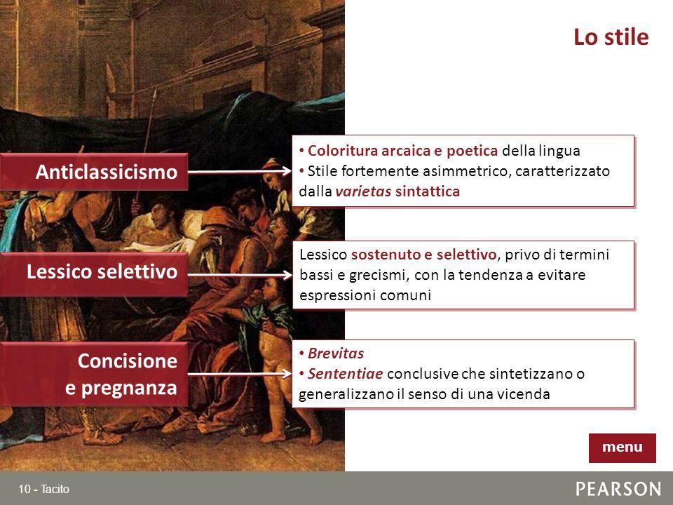 10 - Tacito Lo stile Anticlassicismo Lessico selettivo Coloritura arcaica e poetica della lingua Stile fortemente asimmetrico, caratterizzato dalla va