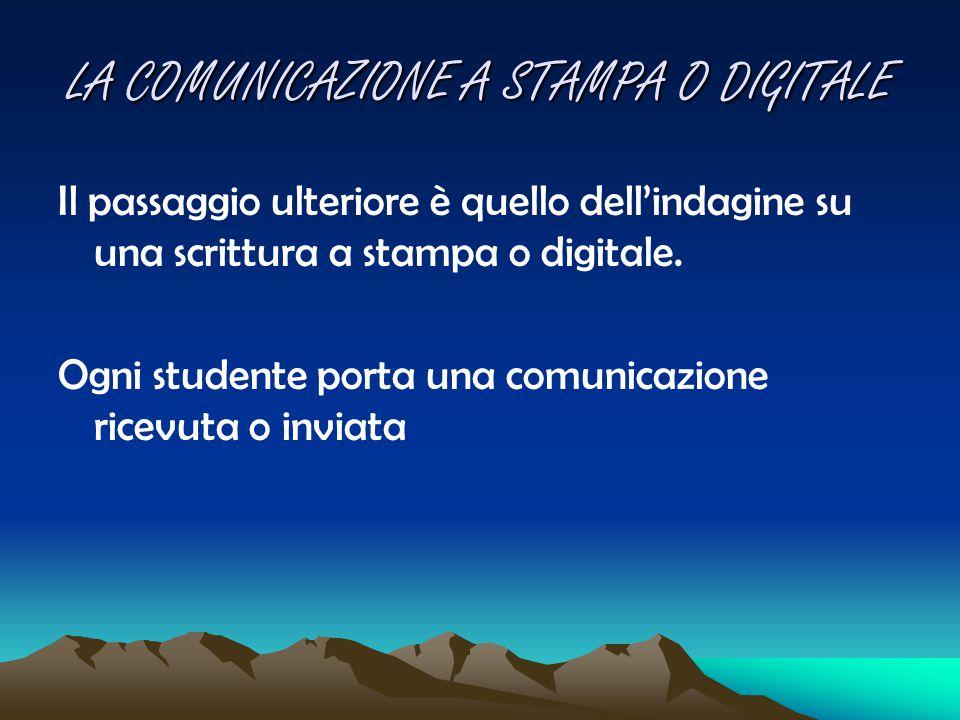 LA COMUNICAZIONE A STAMPA O DIGITALE Il passaggio ulteriore è quello dell'indagine su una scrittura a stampa o digitale. Ogni studente porta una comun