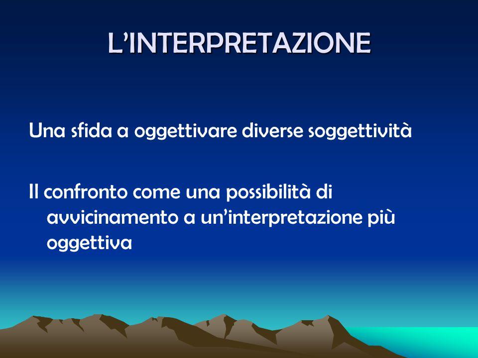 L'INTERPRETAZIONE Una sfida a oggettivare diverse soggettività Il confronto come una possibilità di avvicinamento a un'interpretazione più oggettiva