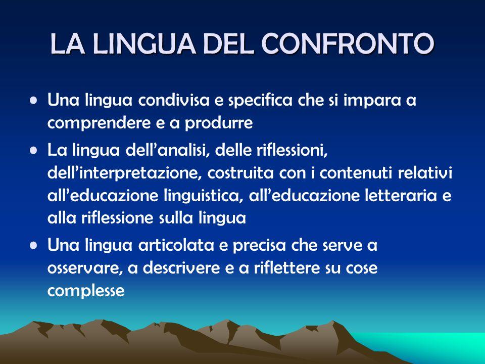 LA LINGUA DEL CONFRONTO Una lingua condivisa e specifica che si impara a comprendere e a produrre La lingua dell'analisi, delle riflessioni, dell'inte
