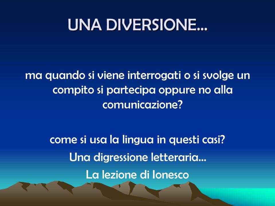 UNA DIVERSIONE… ma quando si viene interrogati o si svolge un compito si partecipa oppure no alla comunicazione? come si usa la lingua in questi casi?