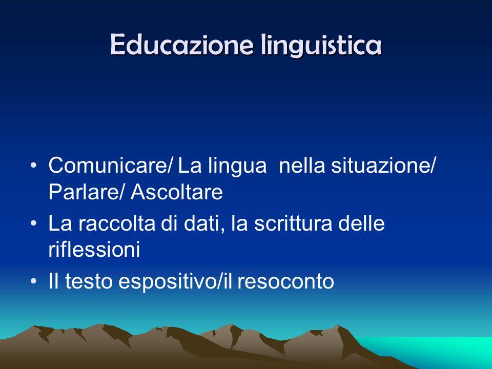 Educazione linguistica Comunicare/ La lingua nella situazione/ Parlare/ Ascoltare La raccolta di dati, la scrittura delle riflessioni Il testo esposit