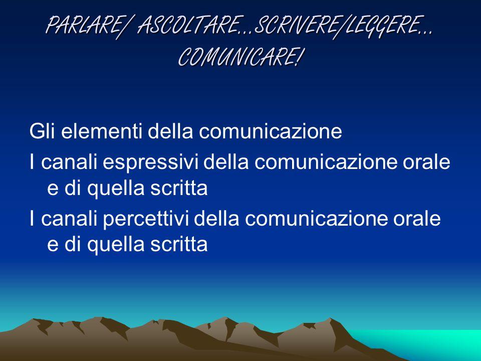 PARLARE/ ASCOLTARE…SCRIVERE/LEGGERE… COMUNICARE! Gli elementi della comunicazione I canali espressivi della comunicazione orale e di quella scritta I