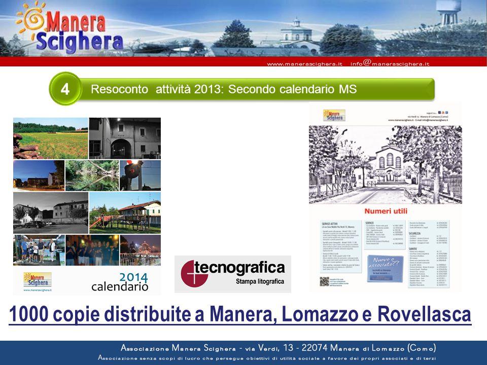 Resoconto attività 2013: Secondo calendario MS 4 1000 copie distribuite a Manera, Lomazzo e Rovellasca