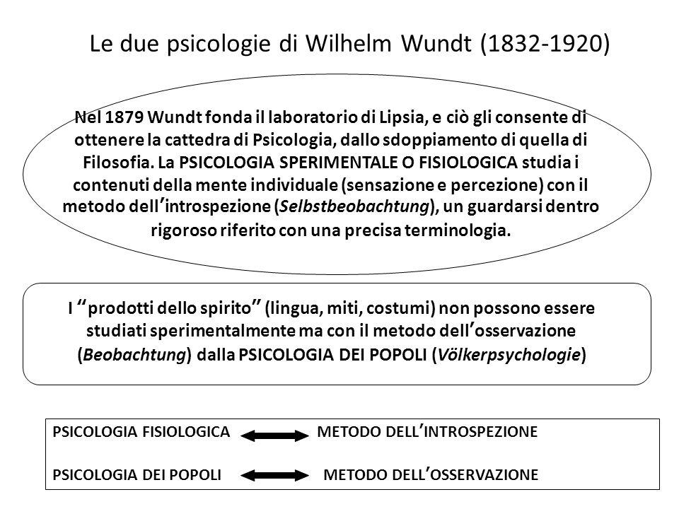 Le due psicologie di Wilhelm Wundt (1832-1920) Nel 1879 Wundt fonda il laboratorio di Lipsia, e ciò gli consente di ottenere la cattedra di Psicologia, dallo sdoppiamento di quella di Filosofia.