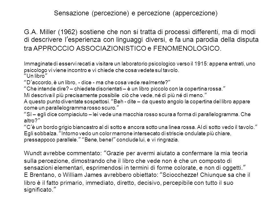 Sensazione (percezione) e percezione (appercezione) G.A.