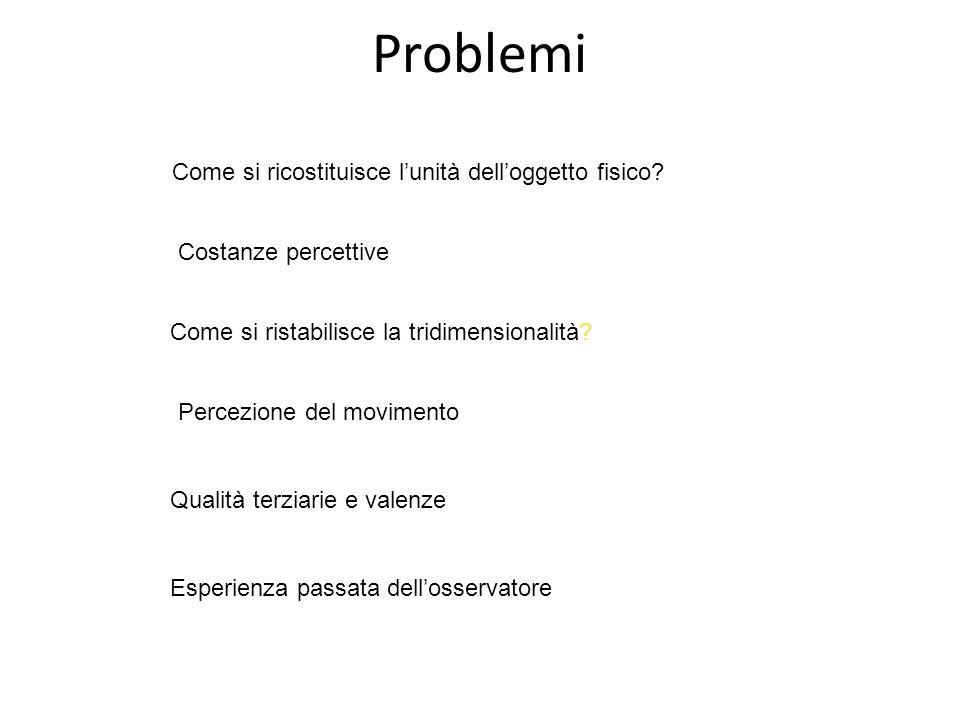 Problemi Come si ricostituisce l'unità dell'oggetto fisico.