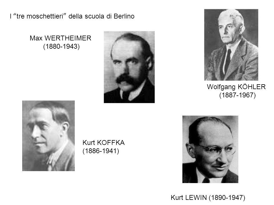I tre moschettieri della scuola di Berlino Kurt LEWIN (1890-1947) Max WERTHEIMER (1880-1943) Kurt KOFFKA (1886-1941) Wolfgang KÖHLER (1887-1967)