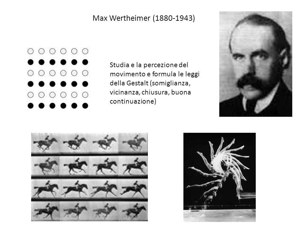 Max Wertheimer (1880-1943) Studia e la percezione del movimento e formula le leggi della Gestalt (somiglianza, vicinanza, chiusura, buona continuazione)