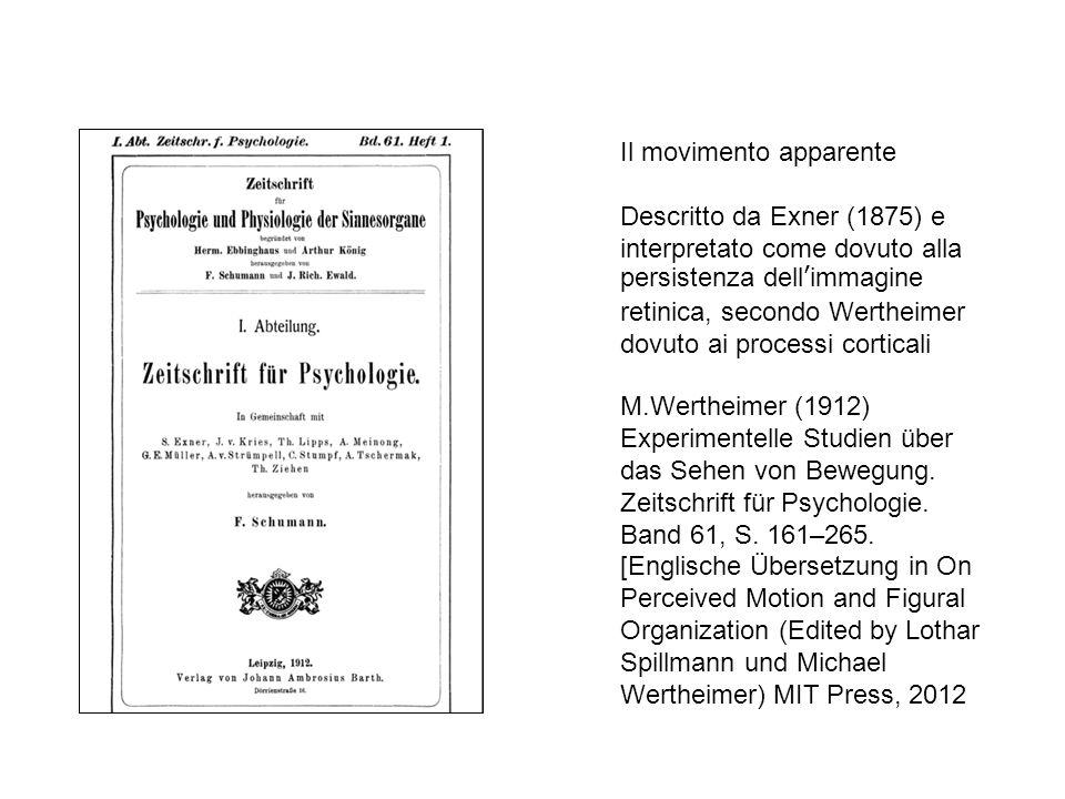 M.Wertheimer (1912) Experimentelle Studien über das Sehen von Bewegung.