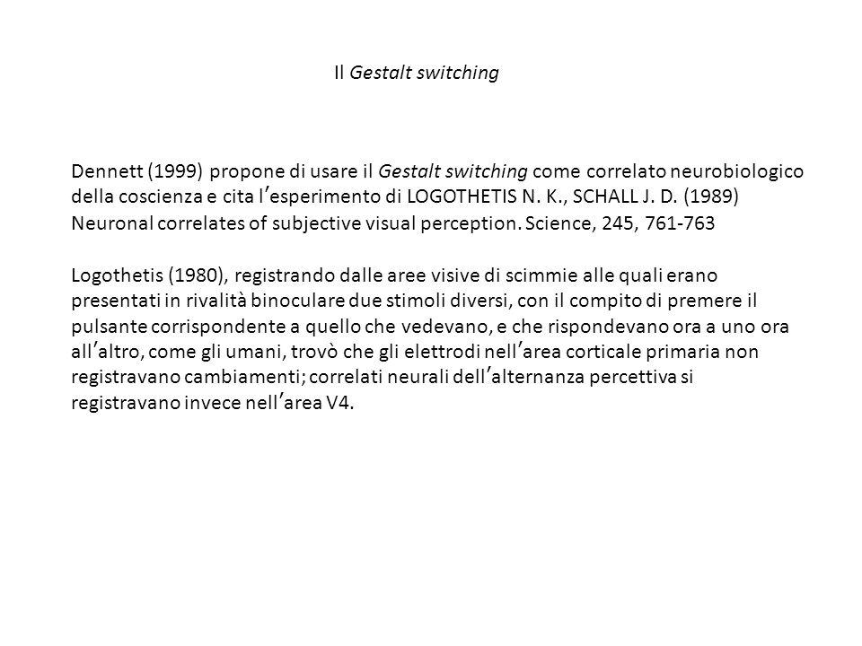 Dennett (1999) propone di usare il Gestalt switching come correlato neurobiologico della coscienza e cita l'esperimento di LOGOTHETIS N.