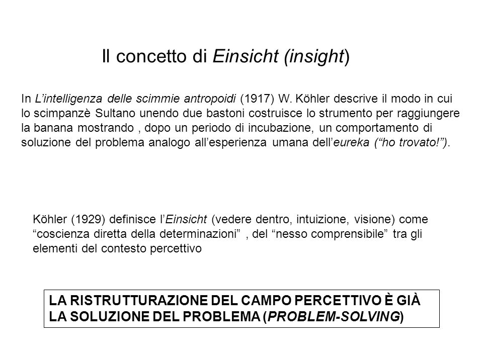 Il concetto di Einsicht (insight) LA RISTRUTTURAZIONE DEL CAMPO PERCETTIVO È GIÀ LA SOLUZIONE DEL PROBLEMA (PROBLEM-SOLVING) In L'intelligenza delle scimmie antropoidi (1917) W.