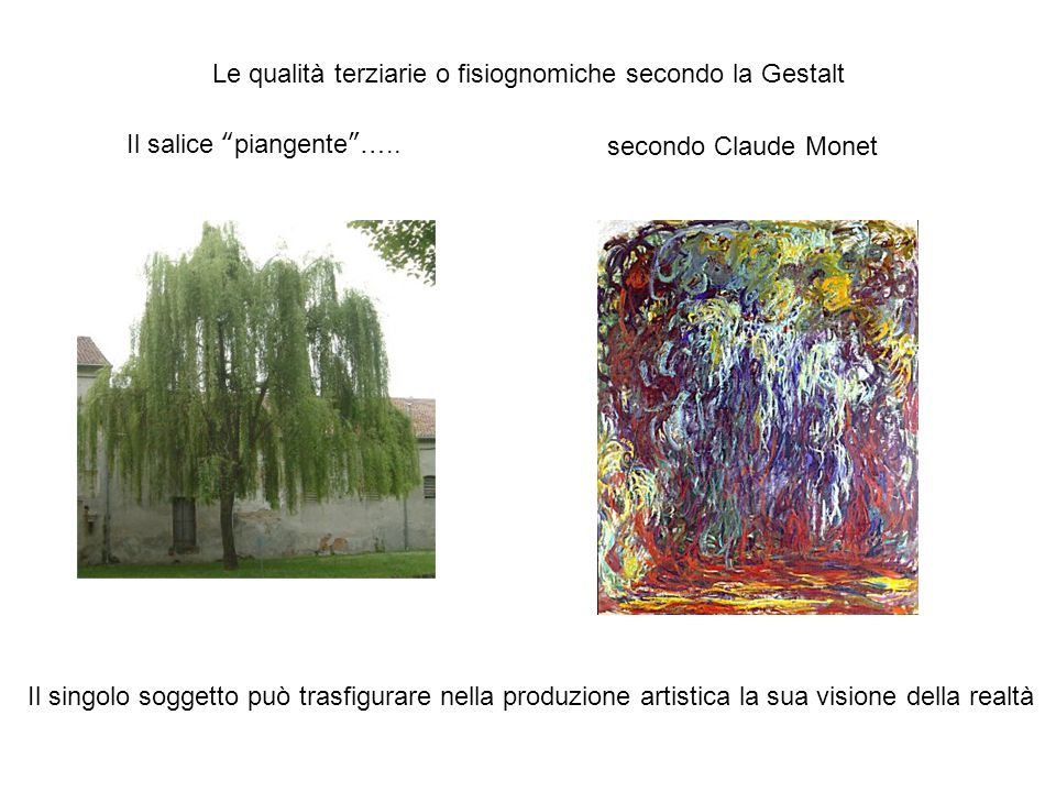Le qualità terziarie o fisiognomiche secondo la Gestalt secondo Claude MonetIl salice piangente …..