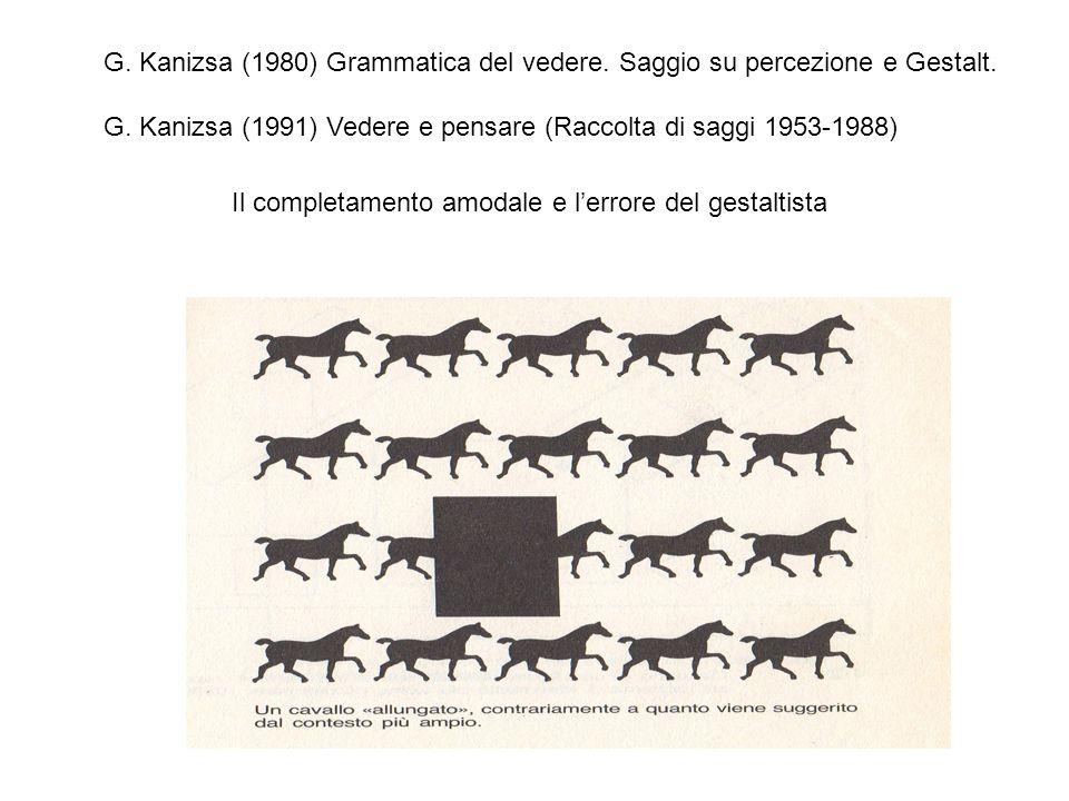 G.Kanizsa (1980) Grammatica del vedere. Saggio su percezione e Gestalt.