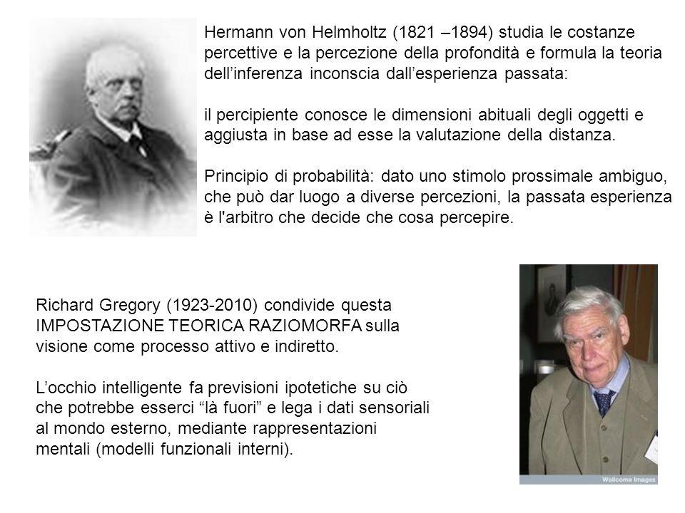 Hermann von Helmholtz (1821 –1894) studia le costanze percettive e la percezione della profondità e formula la teoria dell'inferenza inconscia dall'esperienza passata: il percipiente conosce le dimensioni abituali degli oggetti e aggiusta in base ad esse la valutazione della distanza.