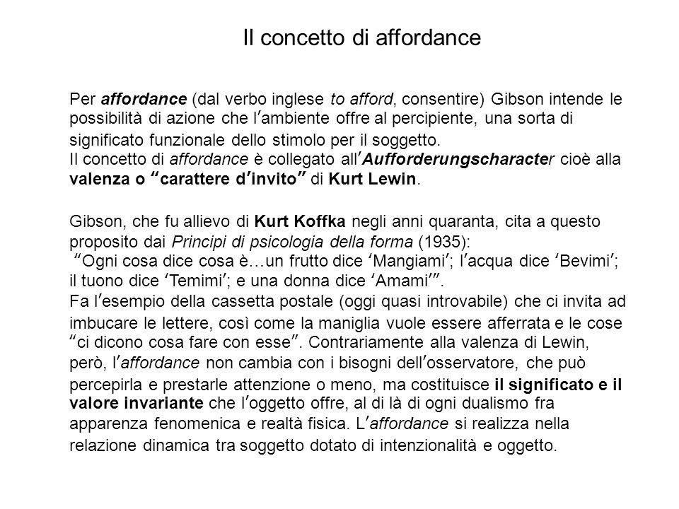 Il concetto di affordance Per affordance (dal verbo inglese to afford, consentire) Gibson intende le possibilità di azione che l'ambiente offre al percipiente, una sorta di significato funzionale dello stimolo per il soggetto.