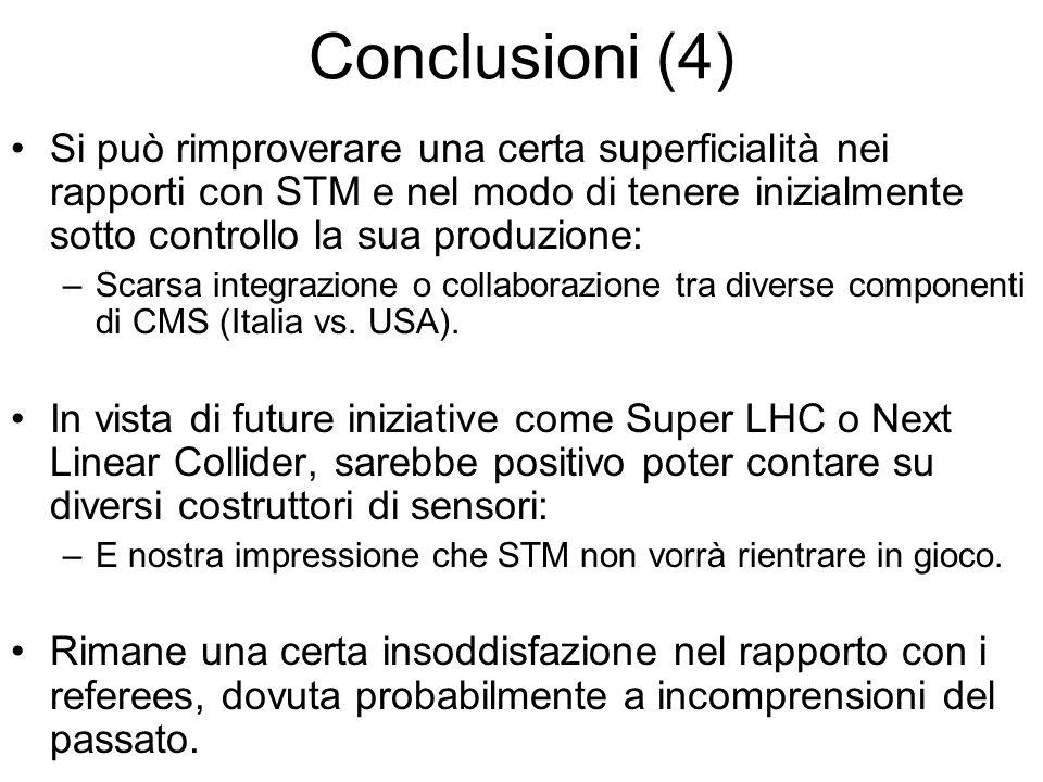 Conclusioni (4) Si può rimproverare una certa superficialità nei rapporti con STM e nel modo di tenere inizialmente sotto controllo la sua produzione: