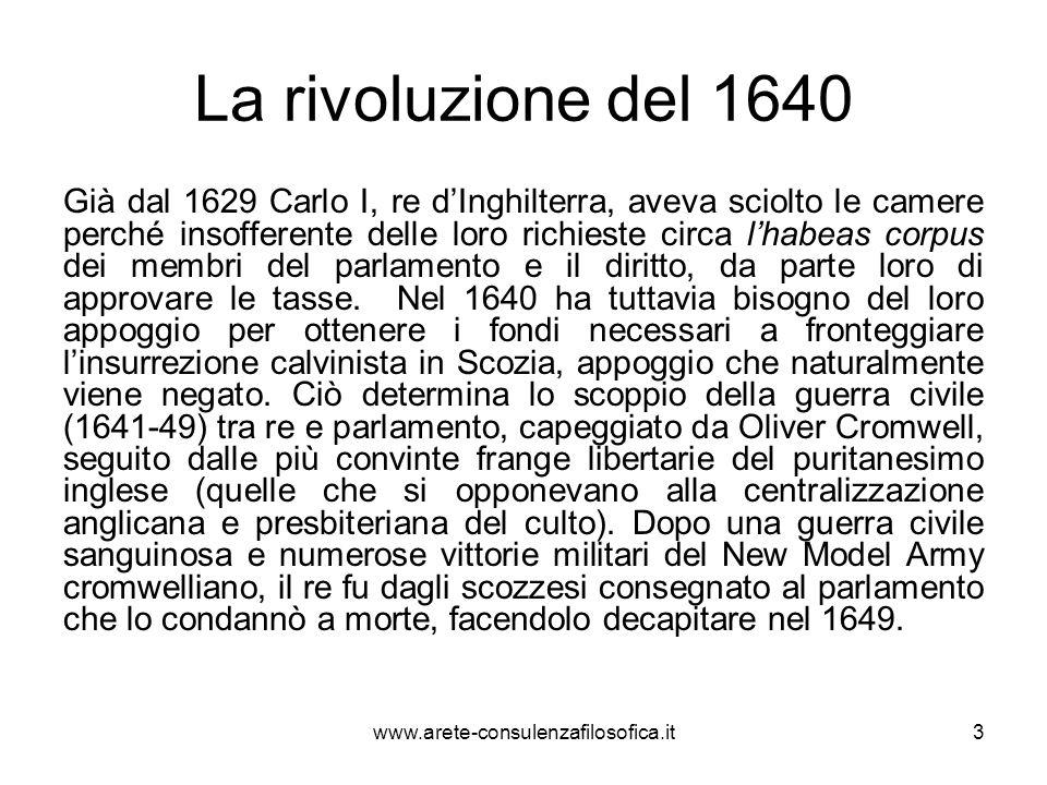 La rivoluzione del 1640 Già dal 1629 Carlo I, re d'Inghilterra, aveva sciolto le camere perché insofferente delle loro richieste circa l'habeas corpus