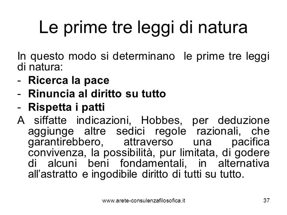 Le prime tre leggi di natura In questo modo si determinano le prime tre leggi di natura: -Ricerca la pace -Rinuncia al diritto su tutto -Rispetta i pa