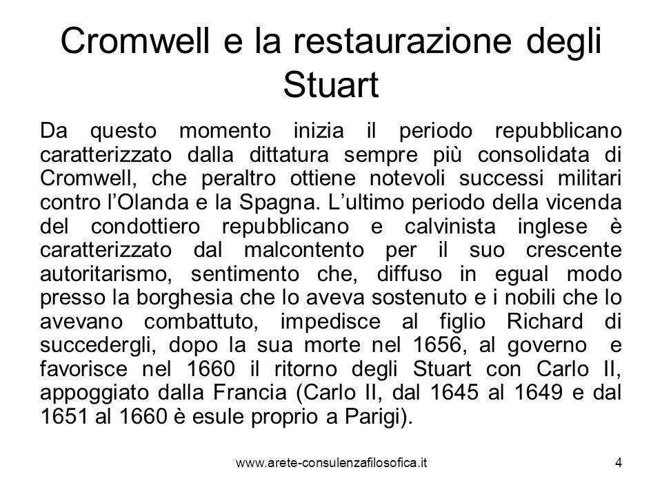 Cromwell e la restaurazione degli Stuart Da questo momento inizia il periodo repubblicano caratterizzato dalla dittatura sempre più consolidata di Cro
