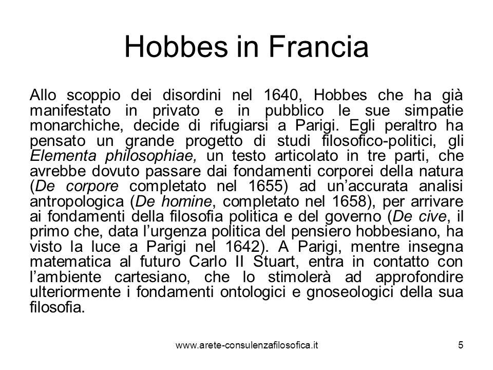 Hobbes in Francia Allo scoppio dei disordini nel 1640, Hobbes che ha già manifestato in privato e in pubblico le sue simpatie monarchiche, decide di r
