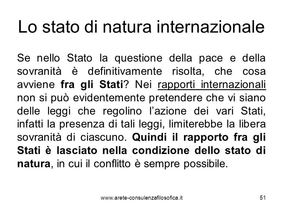 Lo stato di natura internazionale Se nello Stato la questione della pace e della sovranità è definitivamente risolta, che cosa avviene fra gli Stati?