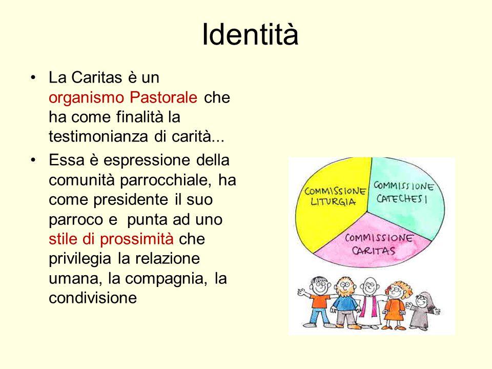Identità La Caritas è un organismo Pastorale che ha come finalità la testimonianza di carità... Essa è espressione della comunità parrocchiale, ha com