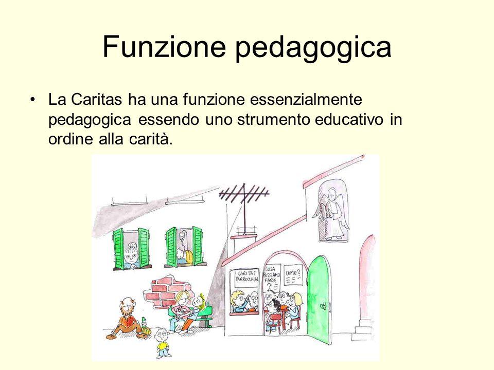 Funzione pedagogica La Caritas ha una funzione essenzialmente pedagogica essendo uno strumento educativo in ordine alla carità.