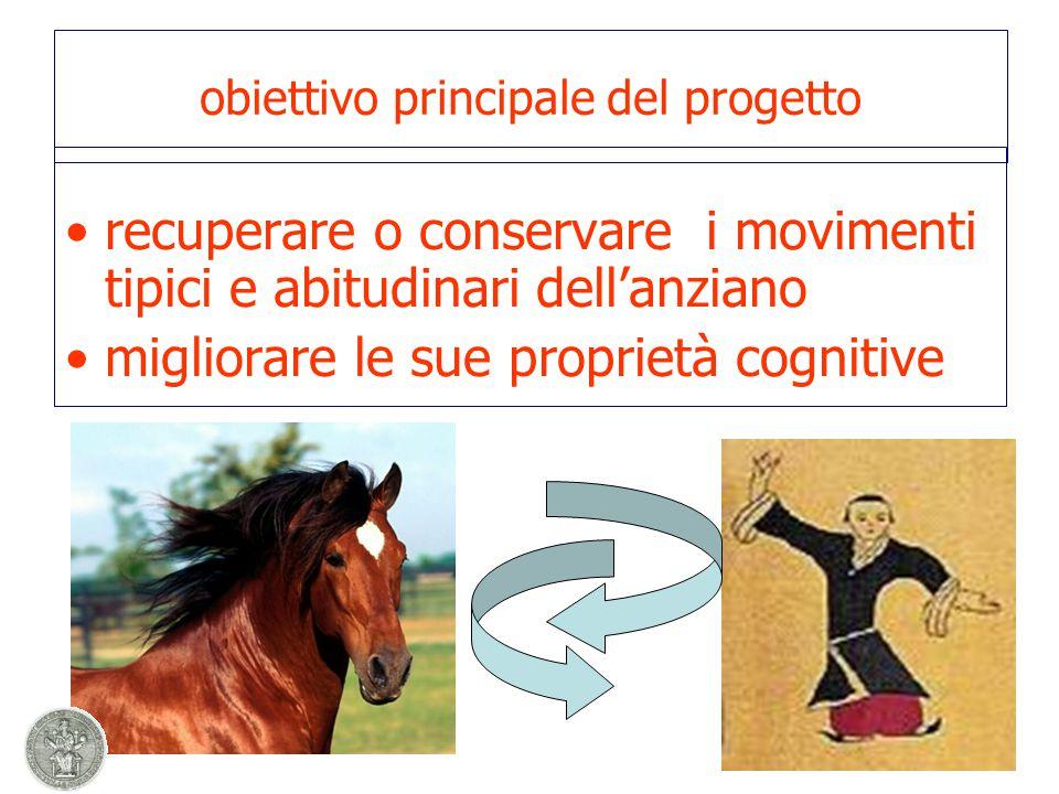 obiettivo principale del progetto recuperare o conservare i movimenti tipici e abitudinari dell'anziano migliorare le sue proprietà cognitive